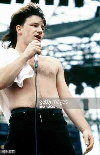 Photo of BONO and U2; Bono performing live onstage at the US Festival at San Bernardino