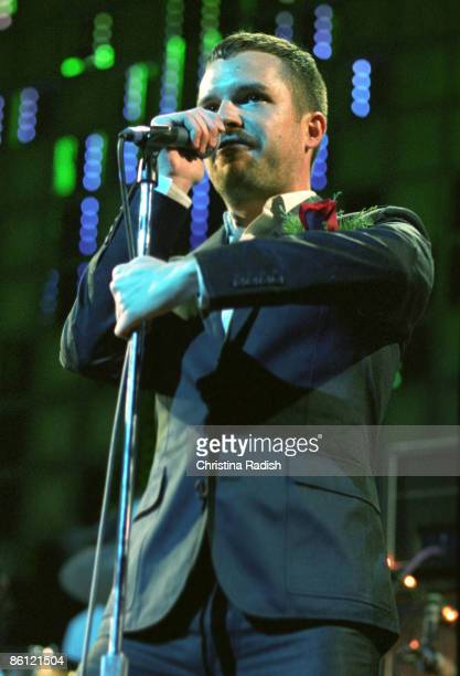 Photo of Brandon FLOWERS and KILLERS; Brandon Flowers performing on stage at the KROQ Almost Acoustic Christmas concert held at the Gibson...