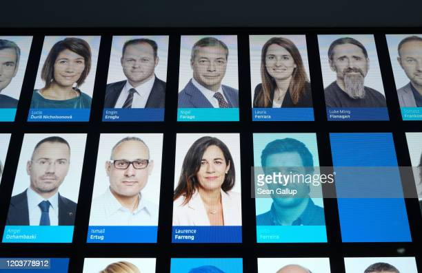 Photo of Brexit Party leader and member of the European Parliament Nigel Farage is seen among pictures of other European Parliament members at the...
