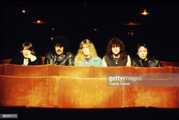 BIRMINGHAM Photo of Brian DOWNEY and Darren WHARTON and John SYKES and Phil LYNOTT and Scott GORHAM and THIN LIZZY LR Scott Gorham Phil Lynott John...