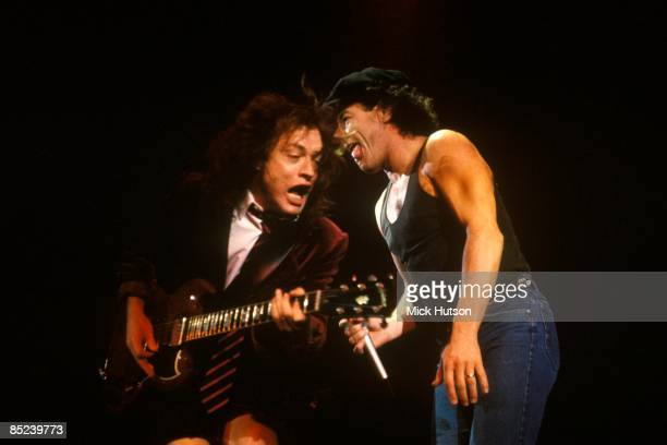 ARENA Photo of Brian JOHNSON and AC/DC and Angus YOUNG and AC DC Angus Young and Brian Johnson performing live onstage