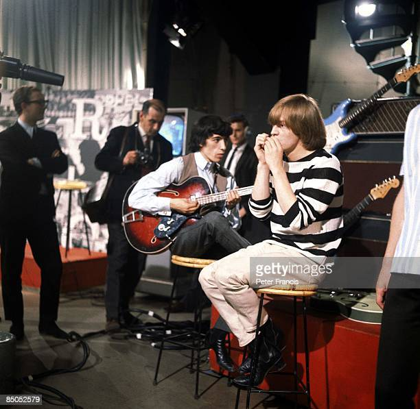Photo of Brian JONES and Bill WYMAN and ROLLING STONES, Bill Wyman and Brian Jones on the set of Ready Steady Go! TV Show at Television House, London