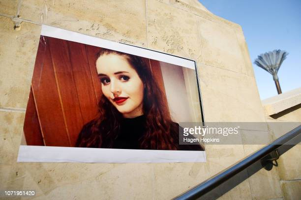 A photo of British backpacker Grace Millane during a vigil at Civic Square on December 12 2018 in Wellington New Zealand The body of 22yearold Grace...