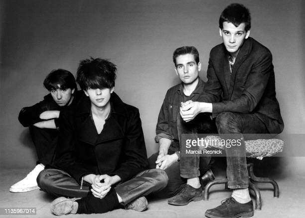 Photo of British New Wave group Echo The Bunnymen New York New York 1981 Pictured are from left Will Sergeant Ian McCulloch Les Pattinson and Pete de...