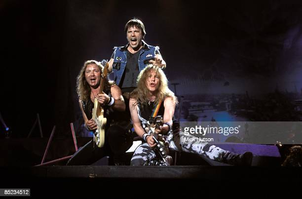 III Photo of Bruce DICKINSON and IRON MAIDEN and Dave MURRAY and Janick GERS LR Dave Murray Bruce Dickinson Janick Gers performing live onstage