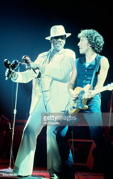 Photo of Bruce SPRINGSTEEN and Clarence CLEMONS Clarence Clemons and Bruce Springsteen performing on stage Chicken Scratch tour at the Civic Center