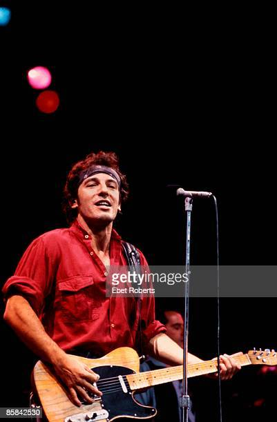 Photo of Bruce SPRINGSTEEN performing live onstage on Born In The USA tour