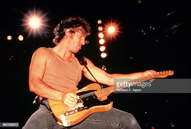 USA Photo of Bruce SPRINGSTEEN performing live onstage on Born In The USA tour playing Fender Telecaster guitar
