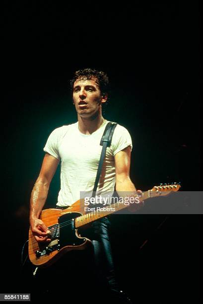 USA Photo of Bruce SPRINGSTEEN performing live onstage on The River tour playing Fender Telecaster guitar