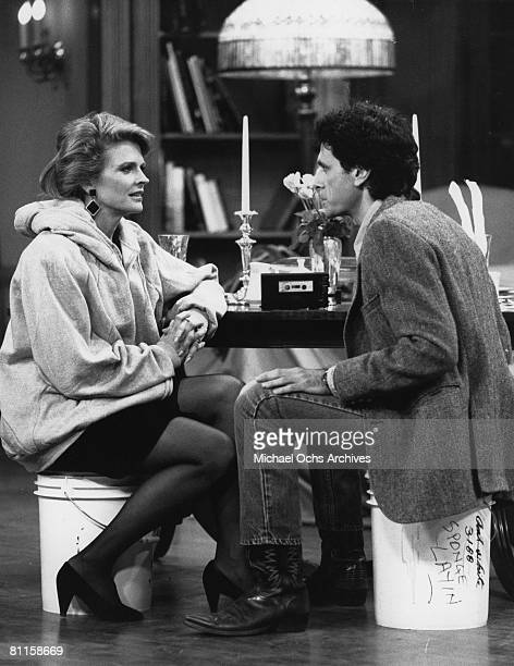Photo of Candice Bergen Robin Thomas on the set of Murphy Brown