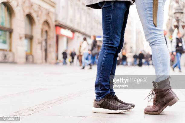 photo of carefree lovers - leg kissing stock photos and pictures