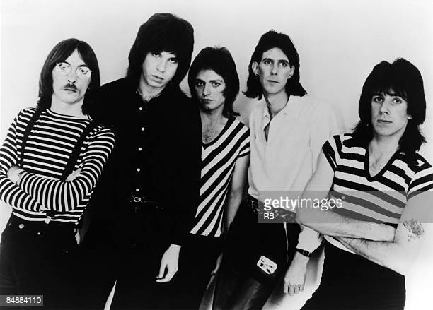 Photo of CARS and Greg HAWKES and Elliot EASTON and Benjamin ORR and Ric OCASEK and David ROBINSON; Posed studio group portrait L-R Greg Hawkes,...