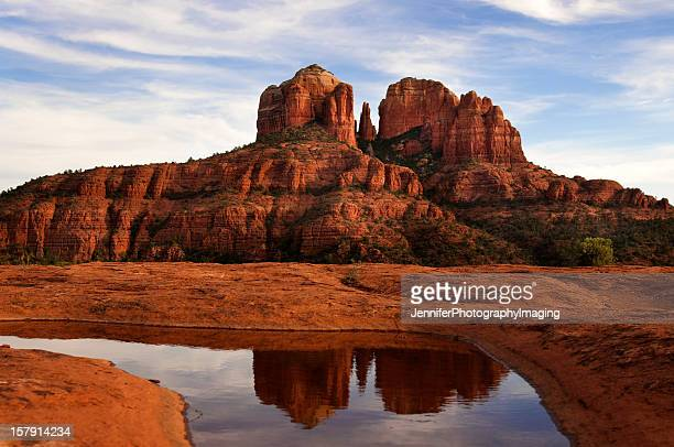 photo of cathedral rock and its reflection in the water - sedona stock photos and pictures
