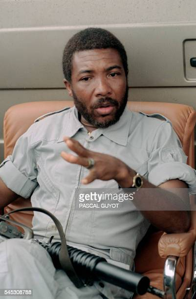 Photo of Charles Taylor leader of the rebel National Patriotic Front of Liberia taken 20 August 1990 in Paynesville during a press conference where...