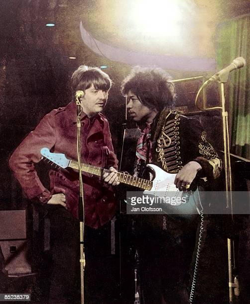 MARQUEE Photo of Chas CHANDLER and Jimi HENDRIX with manager Chas Chandler posed during filming of German TV Show 'Beat Club'