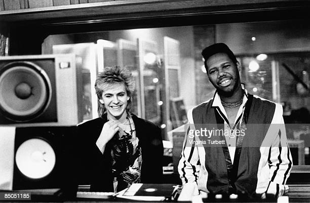 Photo of CHIC and DURAN DURAN and Nile RODGERS and Nick RHODES Nick Rhodes Nile Rodgers in Maison Rogue studio recording 'Wild Boys'