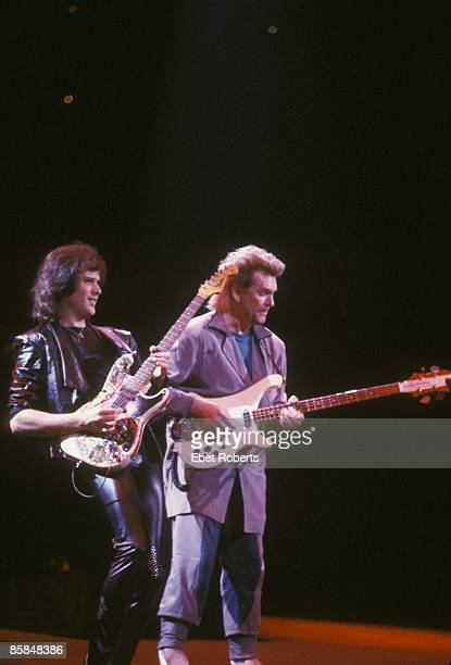 Photo of Chris SQUIRE and Trevor RABIN and YES Trevor Rabin and Chris Squire performing live onstage