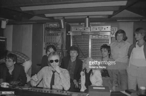 STUDIO Photo of Chris STEIN and BLONDIE and Mike CHAPMAN and Debbie HARRY L to R Chris Stein producer Mike Chapman Nigel Harrison Debbie Harry Frank...