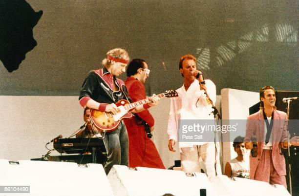 Photo of Chris WHITE and LIVE AID and DIRE STRAITS and STING and Mark KNOPFLER and Jack SONNI w/ Sting LR Mark Knopfler Jack Sonni Sting Chris White...