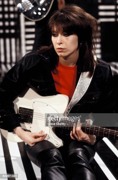 STUDIOS Photo of Chrissie HYNDE and PRETENDERS Chrissie Hynde performing live on 'The Kenny Everett Video Cassette' TV show playing Fender Telecaster...