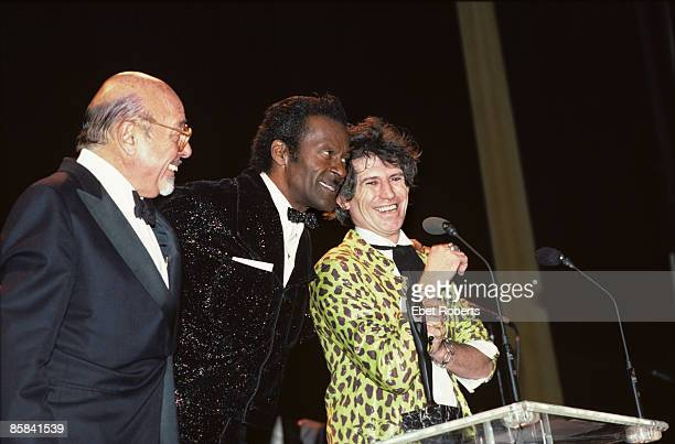 ASTORIA Photo of Chuck BERRY and Ahmet ERTEGUN and Keith RICHARDS Ahmet Ertegun Chuck Berry and Keith Richards on stage at the Rock and Roll Hall of...