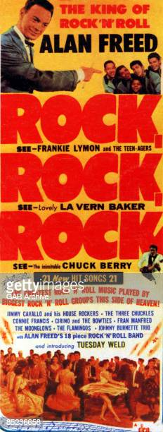 Photo of Chuck BERRY and FILM POSTERS and Alan FREED and Frankie LYMON Film poster for Rock Rock Rock