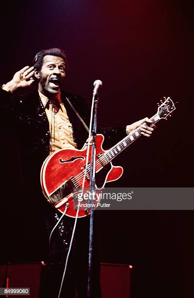 THEATRE Photo of Chuck BERRY perrforming live onstage playing Gibson ES355 guitar