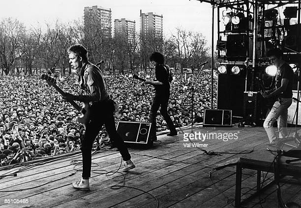 PARK Photo of CLASH and Paul SIMONON and Mick JONES and Joe STRUMMER Paul Simonon Mick Jones and Joe Strummer performing on stage at the Rock against...