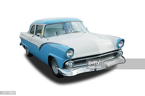 photo of classic car, blue 1955 ford fairlane - 1955 stock pictures, royalty-free photos & images
