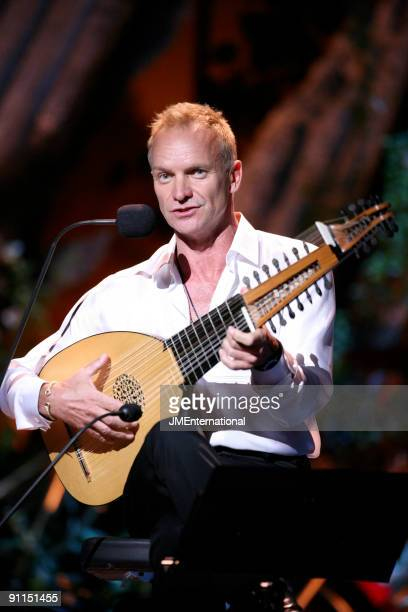 HALL Photo of CLASSICAL BRIT AWARDS and STING performing live onstage playing the lute at the Classical Brit Awards