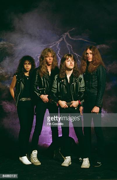 Photo of Cliff BURTON and METALLICA and Lars ULRICH and Kirk HAMMETT and James HETFIELD LR Cliff Burton Lars Ulrich James Hetfield Kirk Hammett posed...
