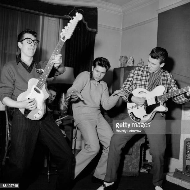 Photo of Cliff RICHARD and SHADOWS posed with The Shadows LR Hank Marvin Cliff Richard Bruce Welch c1959