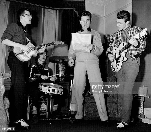 Photo of Cliff RICHARD and SHADOWS; posed with The Shadows - L-R: Hank Marvin, Tony Meehan, Cliff Richard , Bruce Welch - c.1959