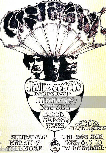 Photo of CONCERT POSTERS and CREAM Poster for various Bill Graham gigs at The Fillmore Winterland Ballroom
