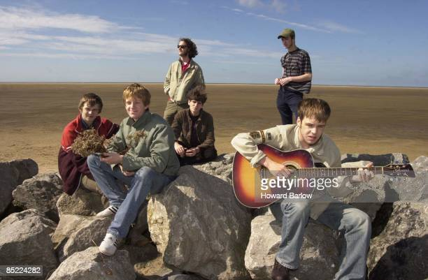 Photo of CORAL 'THE CORAL' in their home town of HOYLAKE on the WIRRAL lr BILL RYDERJONES IAN SKELLY PAUL DUFFY LEE SOUTHALL NICK POWER and JAMES...
