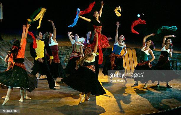 Photo of Corina Gill as Carmen center with her gypsy friends during act II for Calendar review of CARMEN as performed by State Street Ballet at the...
