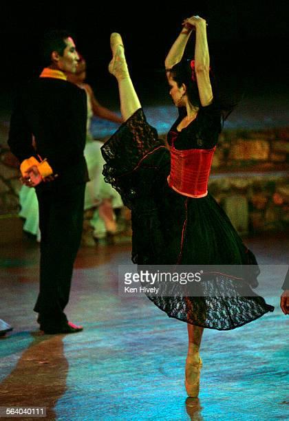 Photo of Corina Gill as Carmen with Bayaraa Badamsambuu as Zuniga during Scene 1 for Calendar review of CARMEN as performed by State Street Ballet at...