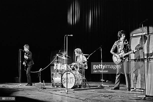 Photo of CREAM and Ginger BAKER and Jack BRUCE and Eric CLAPTON Group performing on stage LR Jack Bruce Ginger Baker and Eric Clapton