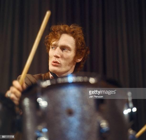 Photo of CREAM and Ginger BAKER; Drummer Ginger Baker performing on stage