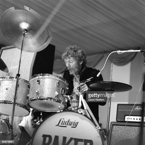 Photo of CREAM and Ginger BAKER, with Cream, performing live onstage, Cream's first live appearance, playing Ludwig drum kit, drums