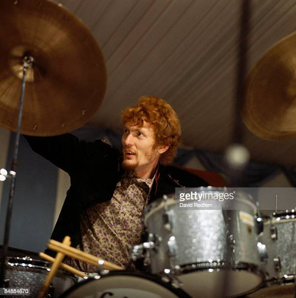 FESTIVAL Photo of CREAM and Ginger BAKER with Cream performing live onstage Cream's first live appearance playing drums