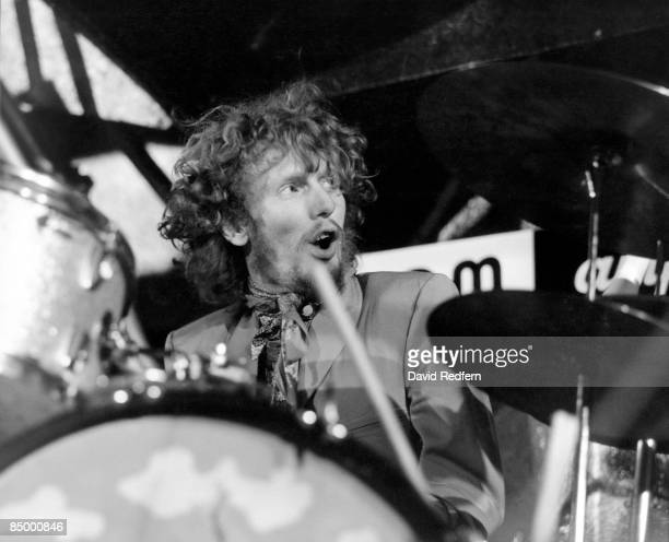 Photo of CREAM and Ginger BAKER, with Cream, performing live onstage, playing drums