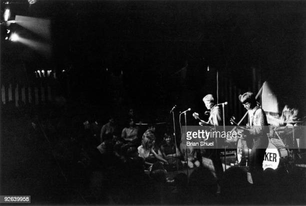 MARQUEE Photo of CREAM Jack Bruce and Eric Clapton performing live onstage with audience in shot