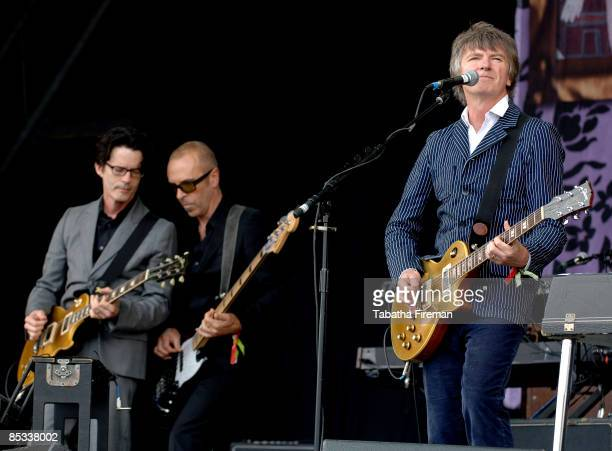 FESTIVAL Photo of CROWDED HOUSE and Mark HART and Nick SEYMOUR and Neil FINN LR Mark Hart Nick Seymour and Mark Hart performing on the Pyramid Stage
