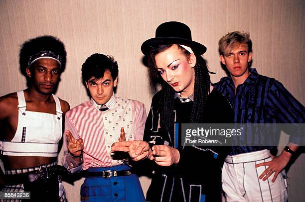 Photo of CULTURE CLUB and Mikey CRAIG and Jon MOSS and BOY GEORGE and Roy HAY Posed group portrait LR Mikey Craig Jon Moss Boy George and Roy Hay