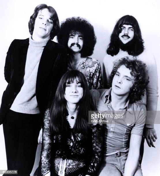 Photo of CURVED AIR and Stewart COPELAND and Phil KOHN and Mick JACQUES and Sonja KRISTINA and Darryl WAY; Posed group portrait L-R Back - Stewart...