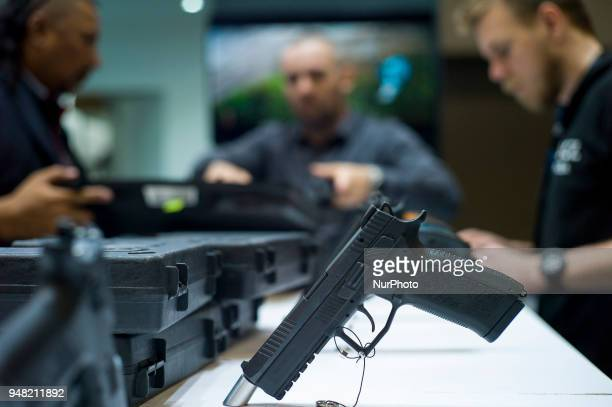 A Photo of CZ's a Pistol of Czech Republic during the 16th Defence Services Asia 2018 exhibition at MITEC in Kuala Lumpur Malaysia on April 18 2018...