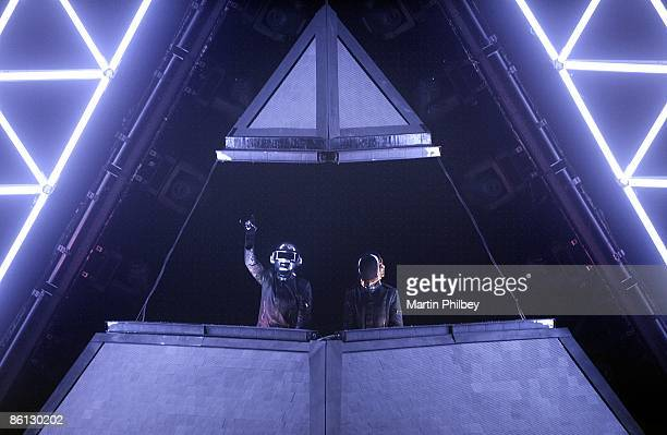 Photo of DAFT PUNK Daft Punk performing on stage at the Sidney Myer Music Bowl stage show and lights