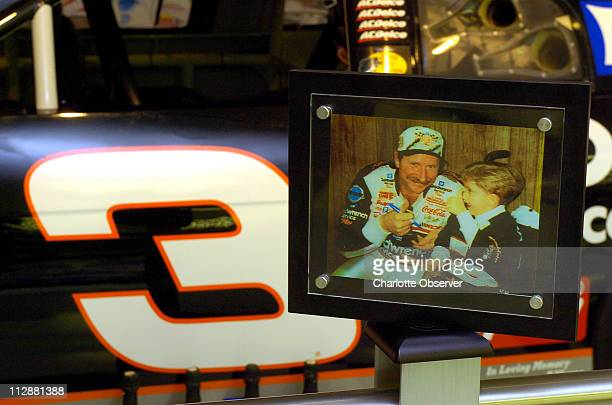 A photo of Dale Earnhardt and Wessa Miller the day she gave him a penny which he glued to the dashboard of the No 3 Chevrolet that he drove to...