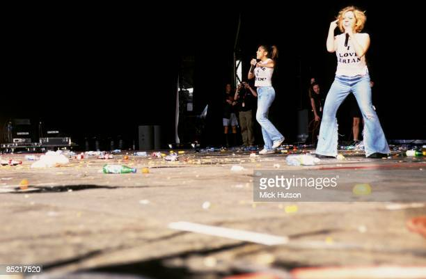 Photo of DAPHNE & CELESTE, being bottled off stage at Reading Festival